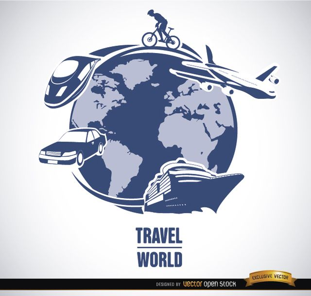 Here is a background showing planet earth and several transport means to travel around it: ship, monorail, car, plane, and bicycle. Use these in logotypes or promos for travel agencies, touristic companies, etc. High quality JPG included. Under Commons 4.0. Attribution License.