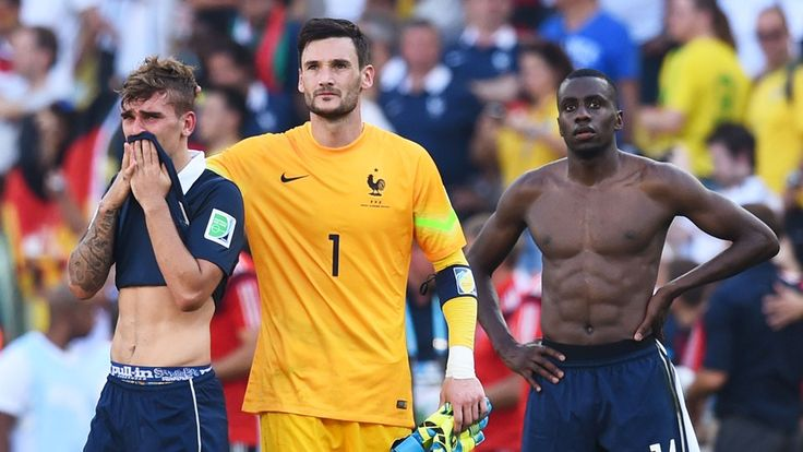 Antoine Griezmann, Hugo Lloris and Blaise Matuidi of France react after being defeated by Germany 1-0.