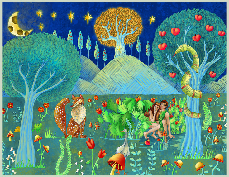 "Beautiful Print of ""The Fall"" of Adam and Eve from Genesis 3 in the Bible. This series of paintings from GospelArt is intended to help teach children the true meaning of all Bible stories-that they are pointers to Jesus Christ. When the Bible is read with this knowledge, every narrative becomes its own work of art."