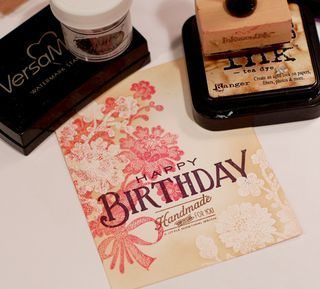 Must try this technique!: Papertrey Stamps, Card Techniques, Birthday Card, Embossing Powder, Stamps Technique, Stamping Technique, Double Stamps, Card Tutorials, Distressed Ink