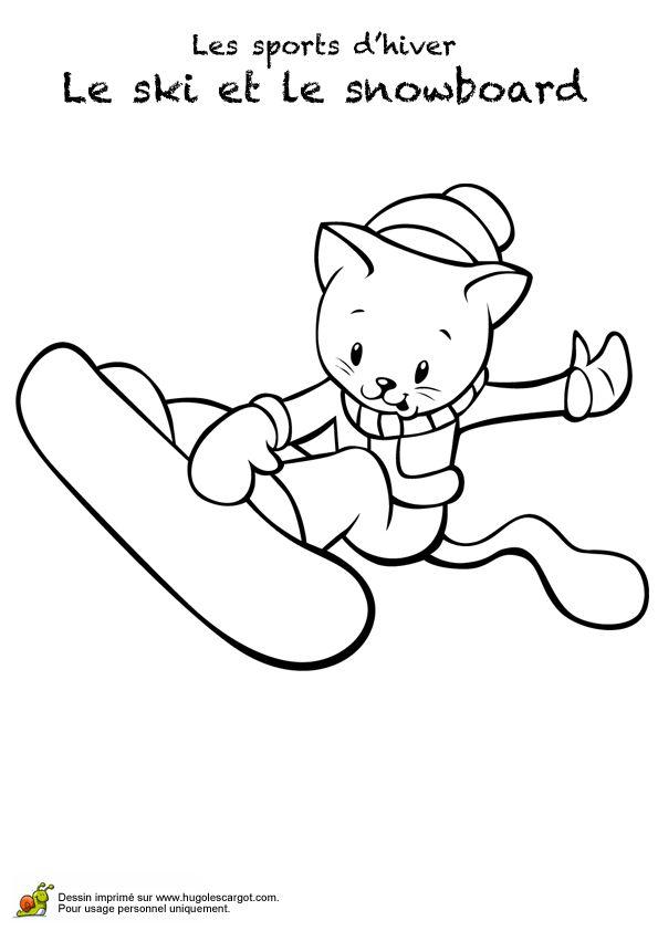 Coloriage de l'image d'un petit chat faisant du snow-board