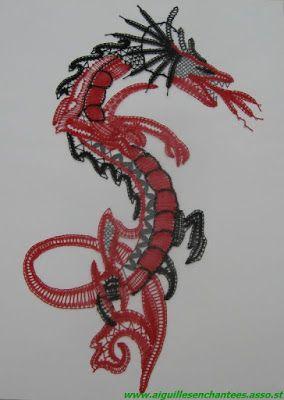 Dentelles des Adhérentes : le dragron de Line - Aiguilles Enchantées