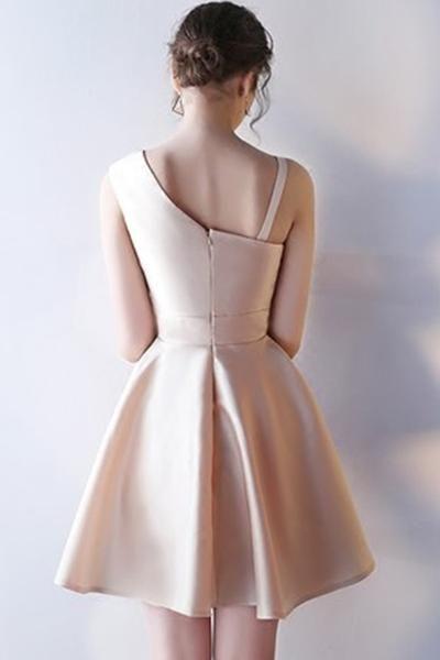 A-Line Deep V-Neck Criss-Cross Straps Short Sleeveless Khaki Homecoming Dress TR0190