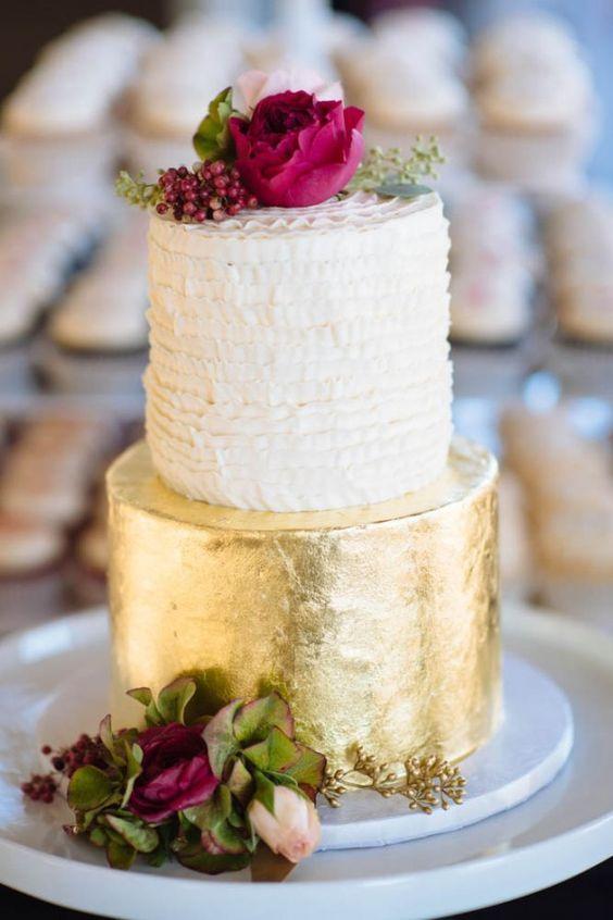 gold foil wedding cake - Google Search