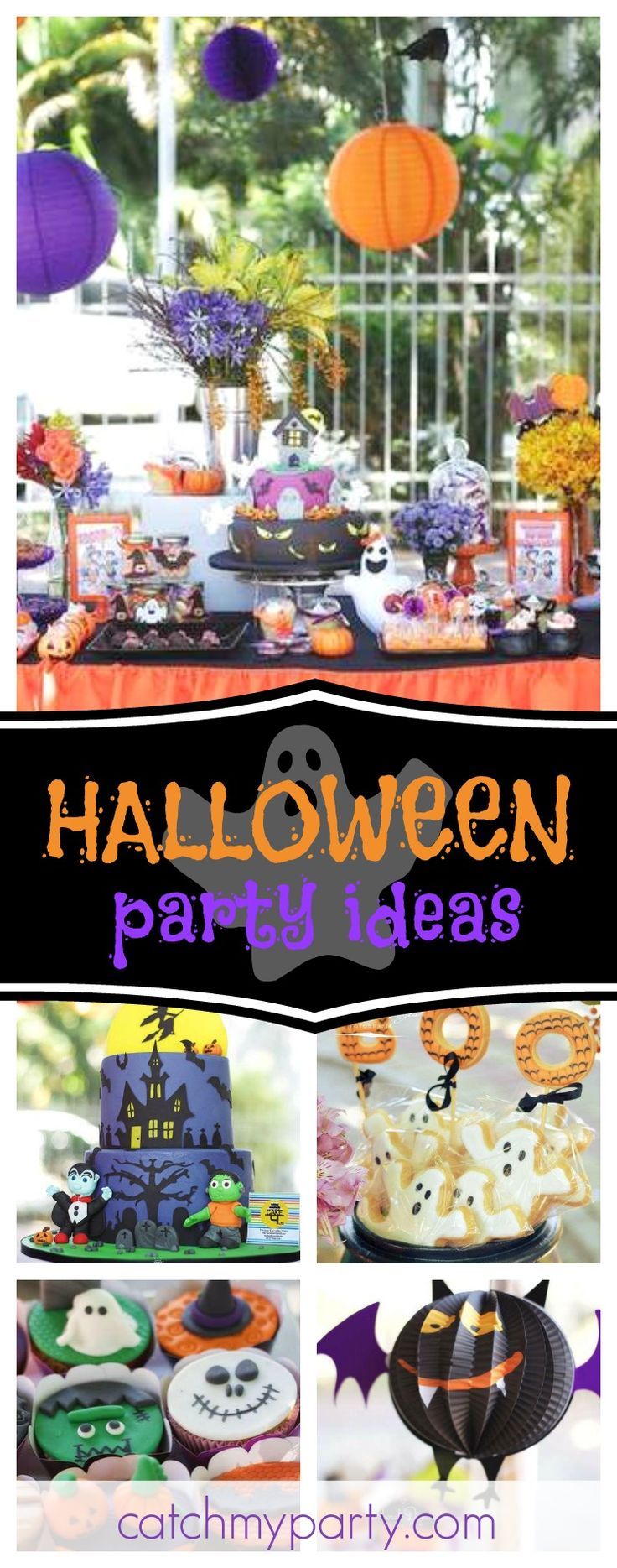 Check out this awesome Halloween party! The cakes are so cool!! See more party ideas and share yours at CatchMyParty.com #halloween #halloweenparty