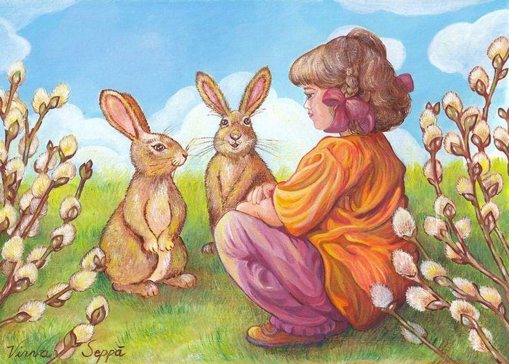 Hoksotin | A free digital jigsaw puzzle of Easter, rabbits, girl and catkin / Ilmainen digitaalinen palapeli pääsiäisestä, jäniksistä, tytöstä ja pajunkissoista