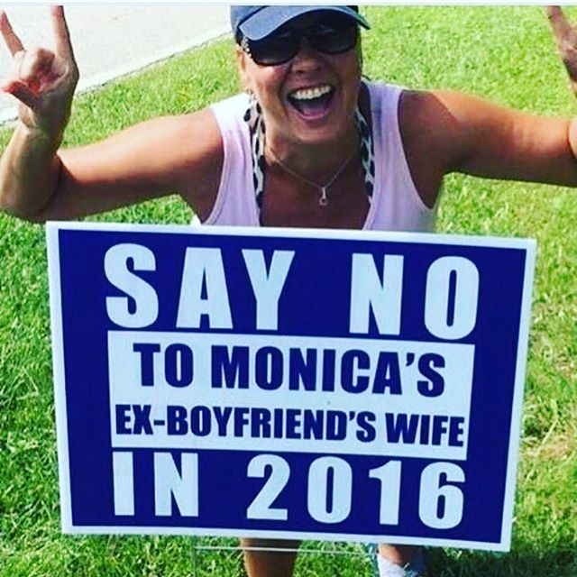 Love the sign, lol. Say no to Monica's ex boyfriend's wife!  #Crookedhillary #Hillarysucks #Nohillary #Notreadyforhillary #Screwhillary   http://www.sonsoflibertytees.com/patriotblog/love-the-sign-lol-say-no-to-monicas-ex-boyfriends-wife-2/?utm_source=PN&utm_medium=Pinterest+%28Memes+Only%29&utm_campaign=SNAP%2Bfrom%2BSons+of+Liberty+Tees%3A+A+Liberty+and+Patriot+Blog-24920-Love+the+sign%2C+lol.+Say+no+to+Monica%27s+ex+boyfriend%27s+wife%21