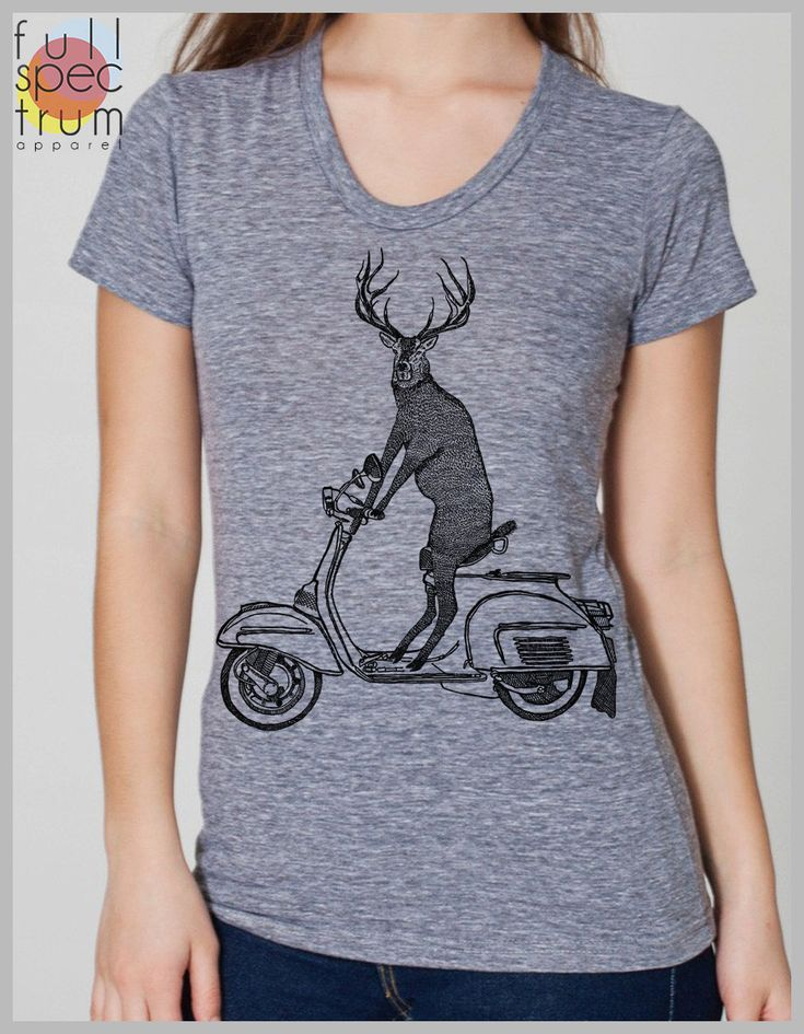 Deer on a Vespa Women's T Shirt Vintage Scooter Hipster Gift Tee American Apparel Tee s, m, l, xl  8 COLORS by FullSpectrumApparel on Etsy