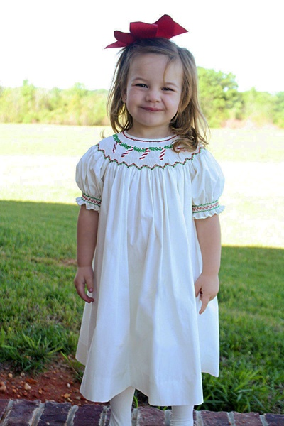 Smocked Christmas dress with candy canes