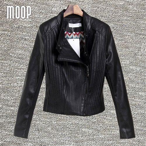 Black PU leather jackets and coats women motorcycle jacket veste en cuir femme cazadora cuero mujer blouson Free shipping LT456