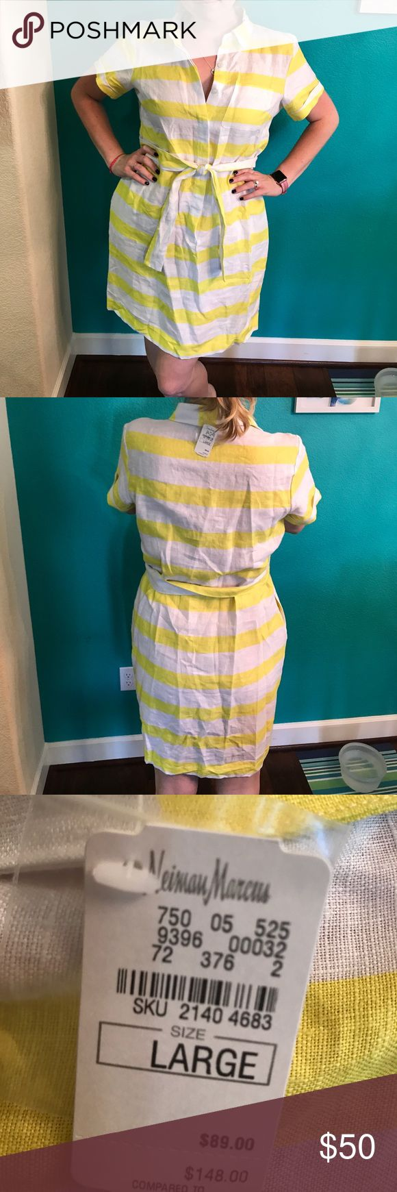 NWT Neiman Marcus 100% Linen Shirt Dress. Size L Super cute dress with belted closure and button down style! And it has POCKETS!!! Neiman Marcus Dresses