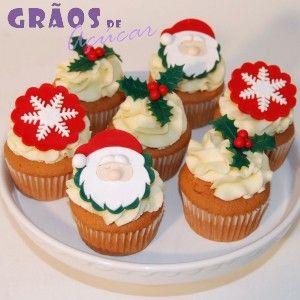 Cupcakes Natal | Cupcakes Simples | Cupcakes Natal | Grãos de Açúcar - Bolos decorados - Cake Design