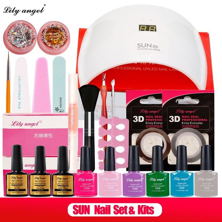 (47.54$)  Watch more here - http://aidl9.worlditems.win/all/product.php?id=32799280691 - 24W SUN9s Intelligent UV LED Lamp &6Color UV Gel Nail Polish Soak Off Base+Top Coat Nail Art Tools Sets Kits nail polish kit Z15