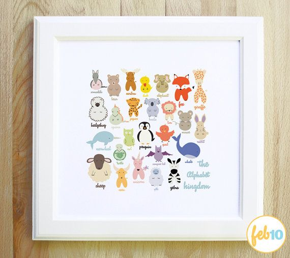 The Alphabet Kingdom woodland nautical and mystical animals and creatures colorful large 12x12 art print for children nursery and baby gift, $20.00