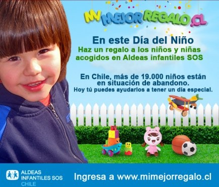 """La #ONG #AldeasInfantilesSOS #Chile lanzó una campaña llamada """"Mi Mejor Regalo"""", que busca que todos los menores vulnerables acogidos por la institución reciban un obsequio en el Día del Niño. www.mimejorregalo.cl"""