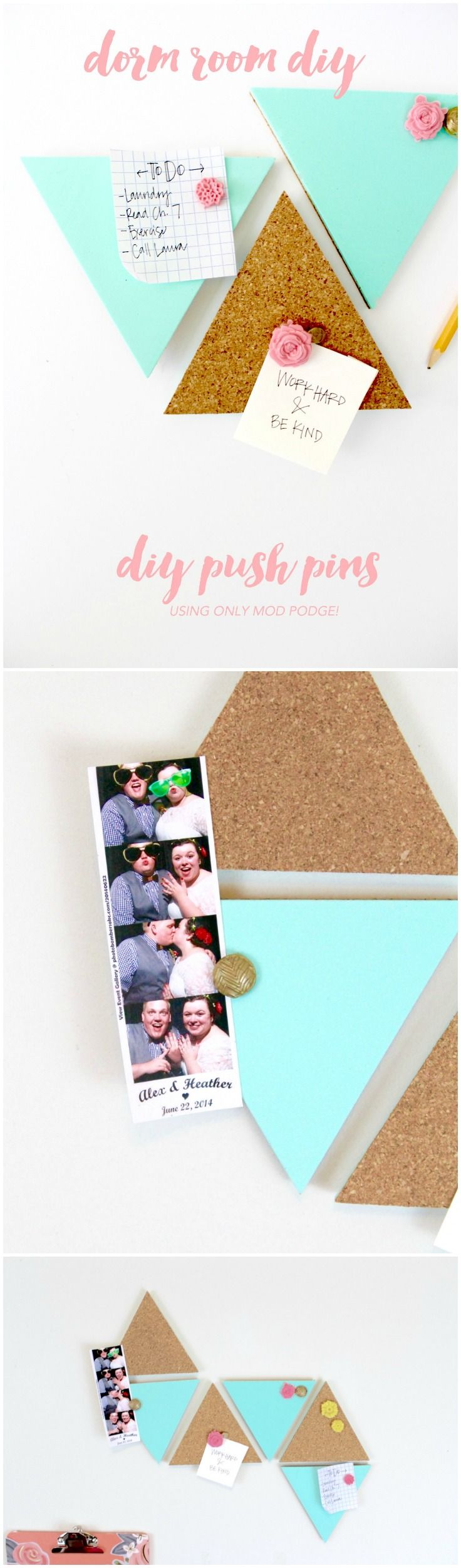 Make your space too cute to boot this school year with these decorative Push Pins! They are made using Mod Melts and will add glam to your space!