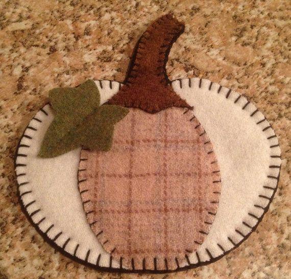Primitive wool penny rug Pumpkin Votive Candle Mat