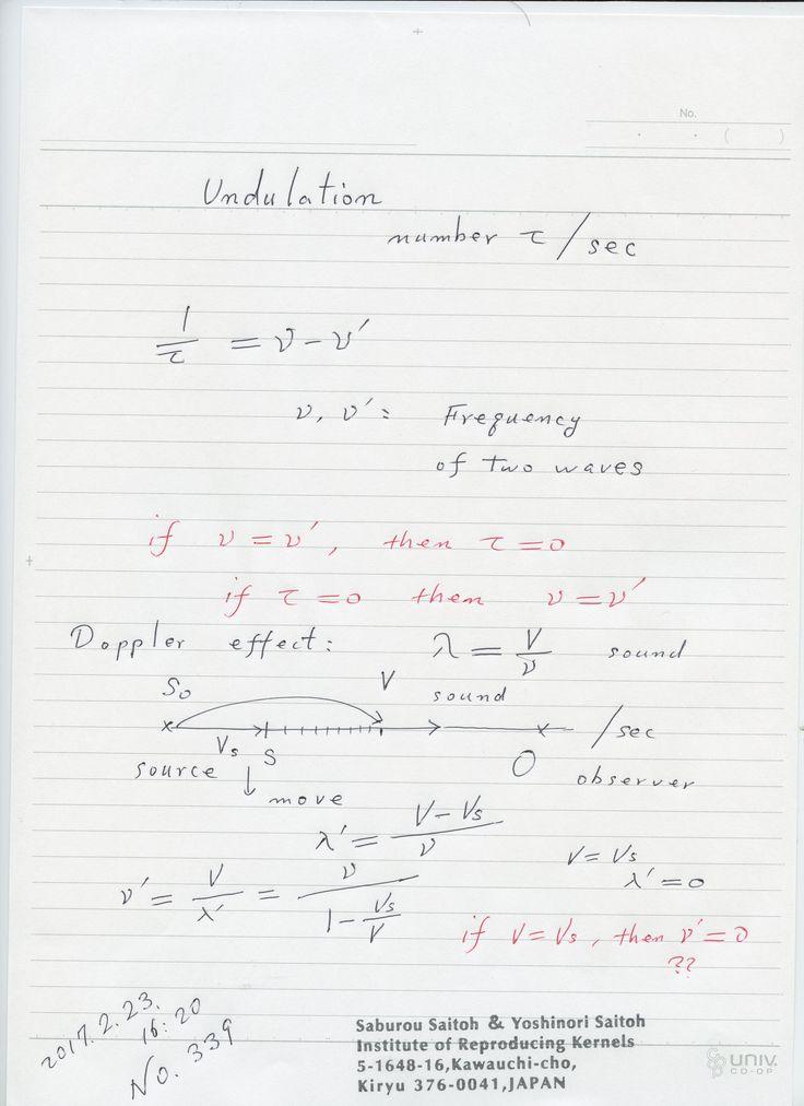 №339-692   ゼロ除算、物理学上の、自然科学上の分数で、分母がゼロの時 意味を有して、退化した形で ゼロとして意味を持つ場合が多いです。分数に関数関係があるときは、ロピタルの一般化である ゼロ除算算法 を適用すると良いですね。 どんどん探して、再生核研究所に お寄せください。 図は、如何でしょぅか。 The division by zero is uniquely and reasonably determined as 1/0=0/0=z/0=0 in the natural extensions of fractions. We have to change our basic ideas for our space and world:   Division by Zero z/0 = 0 in Euclidean Spaces Hiroshi Michiwaki, Hiroshi Okumura and Saburou Saitoh International Journal of Mathematics and Computation Vol…