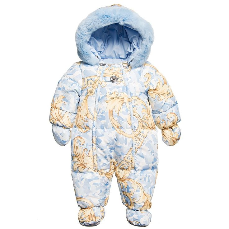 Young Versace - Baby Boys Blue & Gold Baroque Down Padded Snowsuit |