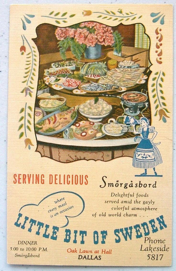 Details About Linen Ad Little Bit Of Sweden Restaurant Dallas Tx Postcard