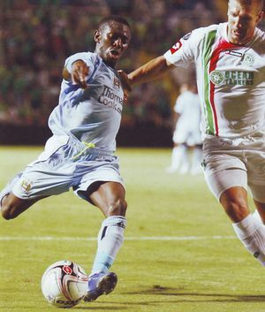 Omonia 1 Man City 2 in Sept 2008 at Neo GSP Stadium. Shaun Wright Phillips shoots for goal in the UEFA Cup 1st Round, 1st Leg.