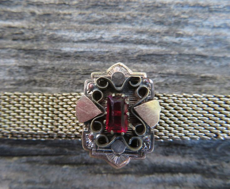 Victorian Gold Filled 60ct. Garnet Slide Bracelet