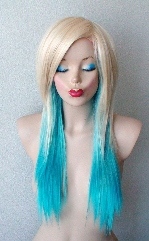 Blonde Teal Turquoise Ombre wig. Medium layered by kekeshop  32e617f5756f