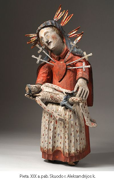 Folk wooden sculpture 'Pieta'. XIX c.