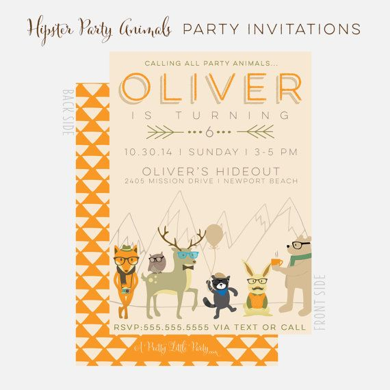 Hipster Party Animals Invitation - Hipster Woodland Party  - Printable Party Supplies