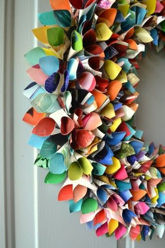 Upcycled wreath made from magazines