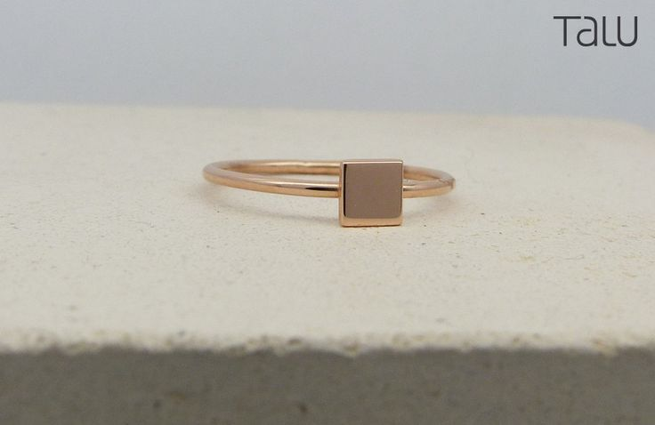 Square Gold Ring, Rose Gold Ring, Geometric Ring, Solid Gold Square, 14k Rose Gold, Gift For Girlfriend, Shape Ring, Small Square Design by TALUrockngold on Etsy