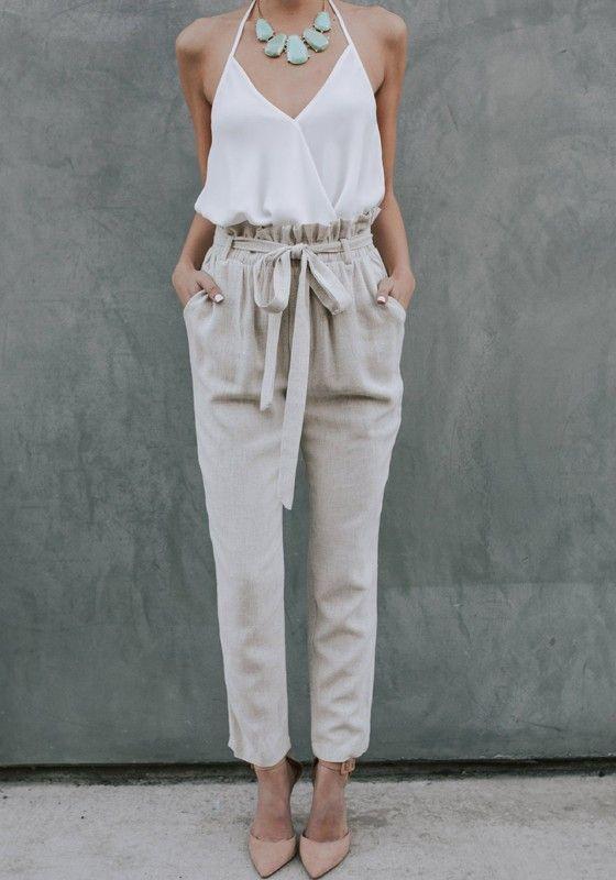 05fb1a41da Khaki Taschen High Waist Bindegürtel Beiläufige Damen Nine's Hose Mit  Schleife Paperbag Hose