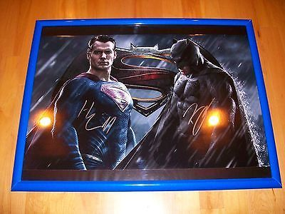 *BATMAN VS SUPERMAN AUTHENTIC DUAL SIGNED CUSTOM FRAMED 18X24 POSTER: MUST SEE!*
