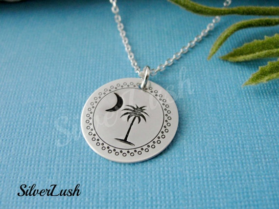 SC PALMETTO Jewelry Sterling Silver Hand Stamped by SilverLush, $31.50