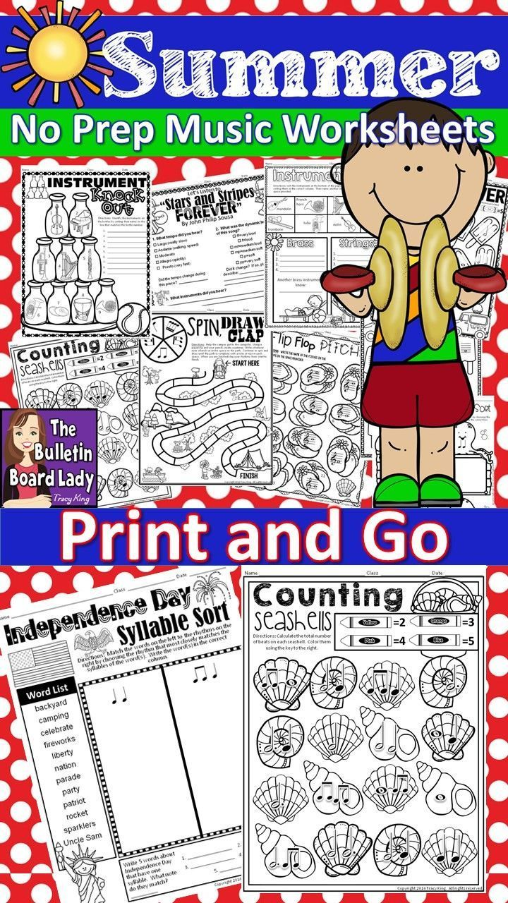 Summer coloring pages for middle school - No Prep Music Worksheets For Summer