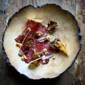 Find this new recipe on Cookniche.com Dry aged beef, mustard, tart cherries, peanuts and fried shiitake by @luca.rosati a member of our culinary network. Join us! Direct link in bio.
