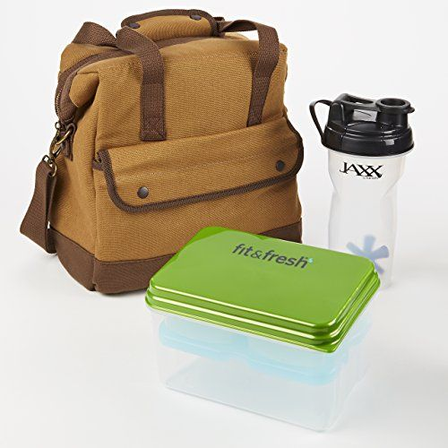 Douglas Lunch Bag Kit with Lunch on the Go and Jaxx Shaker Cup (Brown)