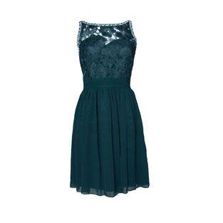 Max and Lola Dark Green Short Lace Dress