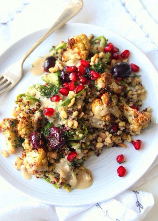 Mixed Grain Salad with Roasted Cauliflower & Grapes//Merchant Gourmet VEGAN #spon