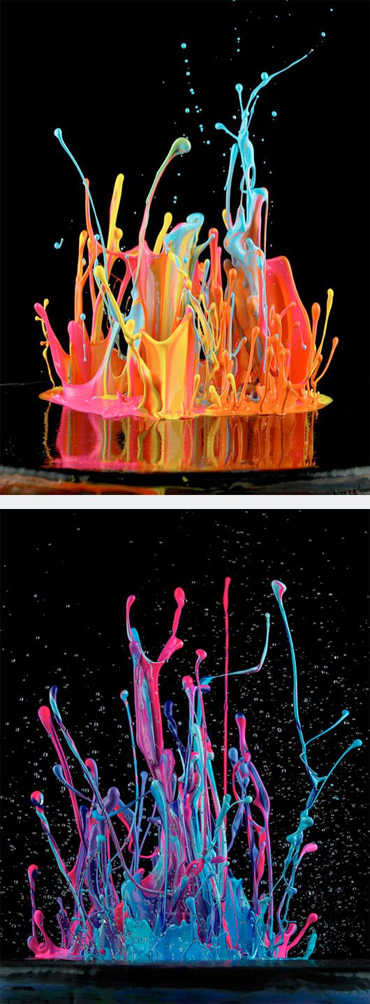 "Painting With Sound by German photographer Martin Klimas. - ""Like a 3-D take on Jackson Pollock, the latest work by the artist Martin Klimas begins with splatters of paint in fuchsia, teal and lime green, positioned on a scrim over the diaphragm of a speaker. Then the volume is turned up..."""