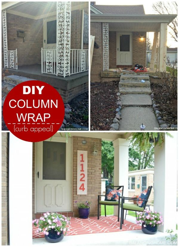 Cover unsightly porch columns with this DIY Column Wrap. Curb Appeal Hacks and Tips - Frugal Home Ideas to Increase Your Home Value. Update the appearance for your home for little expense on Frugal Coupon Living.