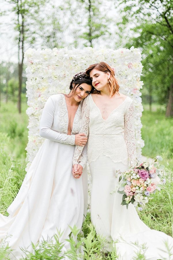 This woodland wedding inspiration from Danielle Heinson Photography features whimsical and bohemian details and two beautiful brides in Edith Elan gowns. Lesbian Wedding Photos, Lesbian Wedding Photography, Lgbt Wedding, Wedding Bride, Bridal Poses, Wedding Poses, Wedding Dresses, Wedding Ideas, Woodland Wedding Inspiration