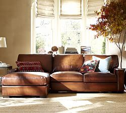 Quick Ship Turner Square Arm Leather Sofa With Chaise Sectional : leather couches with chaise - Sectionals, Sofas & Couches