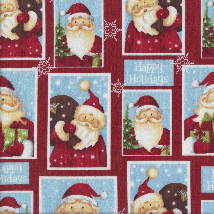 Santa Portraits in Blue Rectangles Christmas Happy