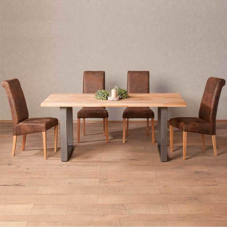 Marvelous Esstisch mit St hlen aus Buche Massivholz Braun Kunstleder teilig Jetzt bestellen unter