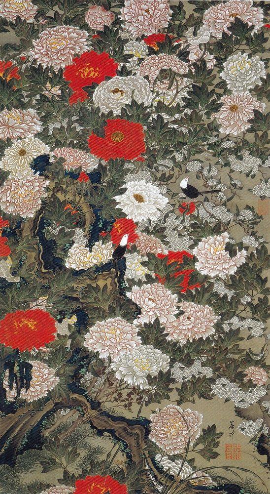 Ito Jakuchu 動植綵絵 Doshoku Sai-e Title:牡丹小禽図 Botan Shokin-zu (Peonies and Small…