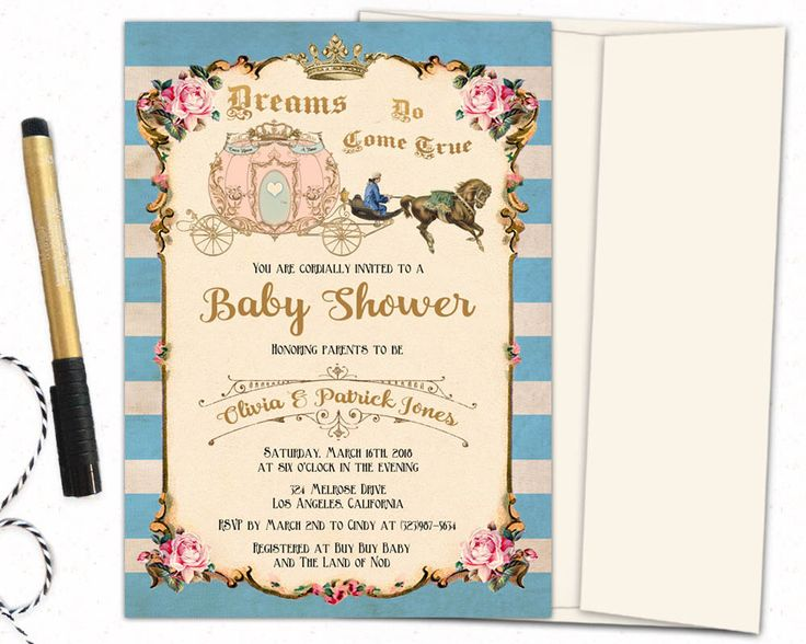 Once Upon A Time Baby Shower Invitation / Cinderella Baby Shower Invitations  / Fairy Tale Baby Shower Invitation / Baby Shower Invites. By CupidDesigns  On ...