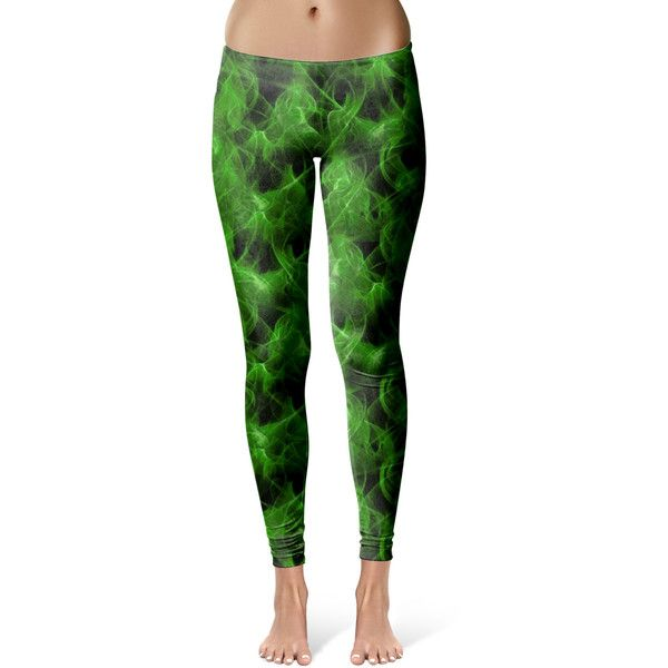 Green Fire Leggings ($40) ❤ liked on Polyvore featuring pants, leggings, grey, women's clothing, gray pants, green pants, green trousers, grey pants and grey leggings