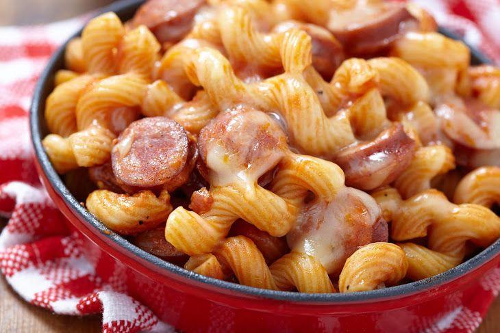 Smoked Sausage & Tomato Spirali Recipe Main Dishes with spirali, smoked sausage, garlic, chicken broth, crushed tomatoes, jack cheese, heavy cream, extra-virgin olive oil, salt, pepper