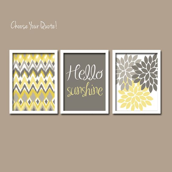 Yellow Grey Hello Sunshine Ikat Inspired Flower Burst Basement Bathroom